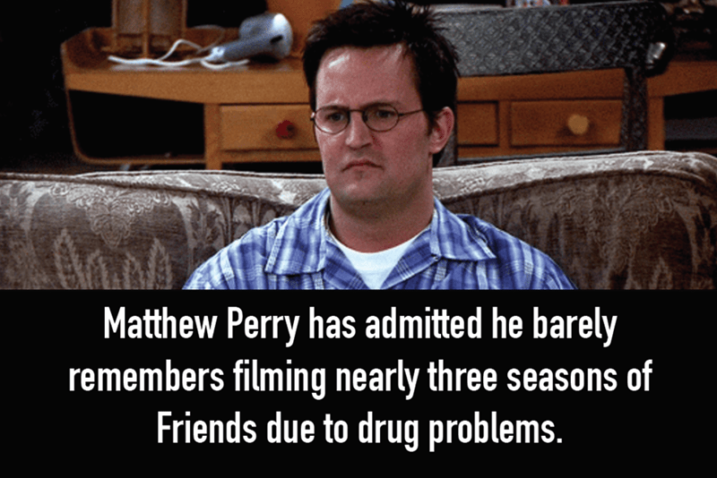 Photo caption - Matthew Perry has admitted he barely remembers filming nearly three seasons of Friends due to drug problems.