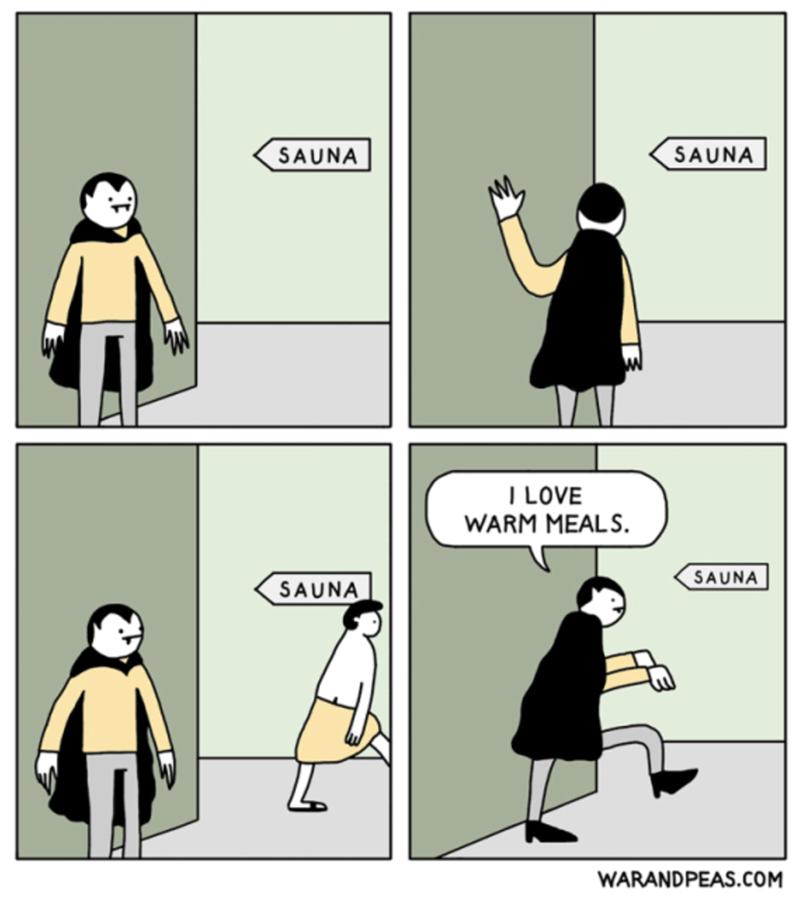 Cartoon - SAUNA SAUNA I LOVE WARM MEALS. SAUNA SAUNA WARANDPEAS.COM