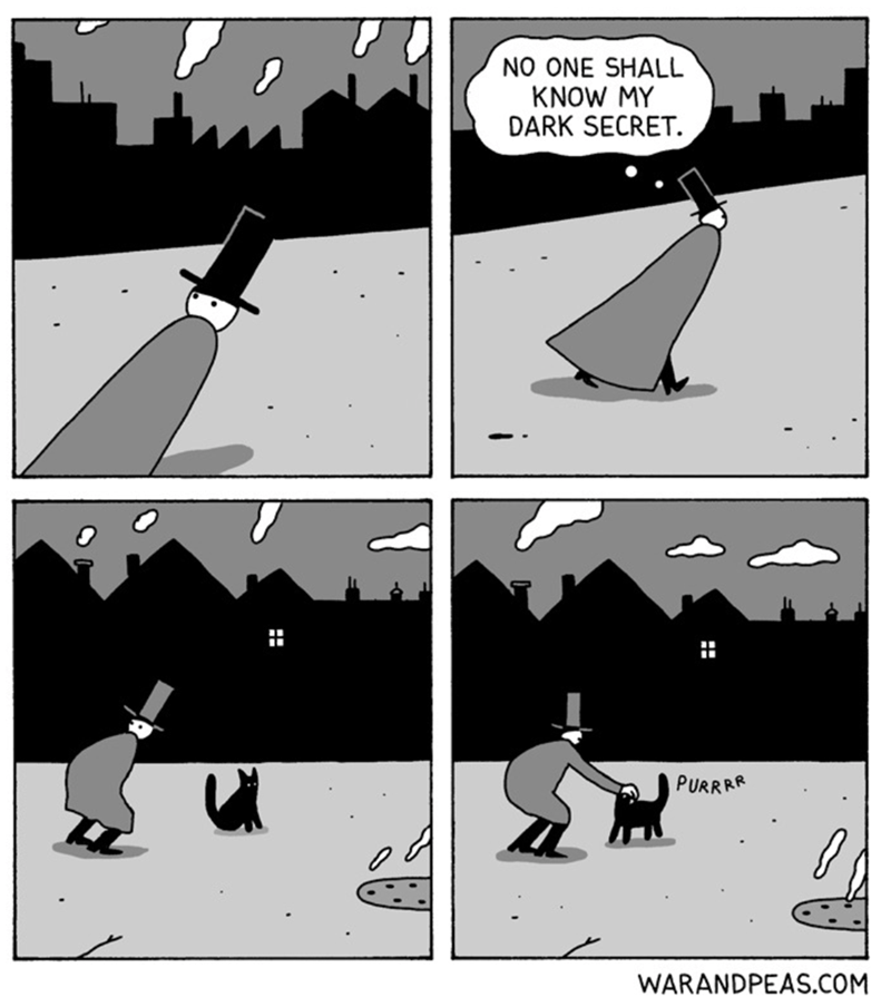 Cartoon - NO ONE SHALL KNOW MY DARK SECRET PURRRR WARANDPEAS.COM