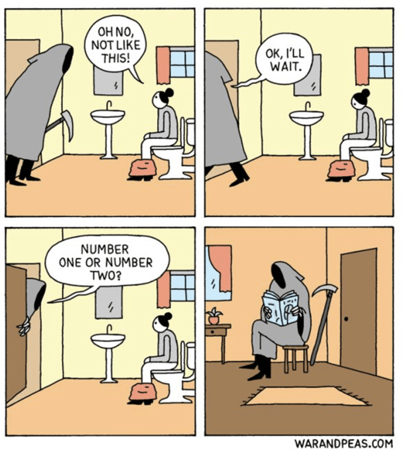 Cartoon - OH NO, NOT LIKE THIS! OK, I'LL WAIT. NUMBER ONE OR NUMBER TWO? WARANDPEAS.COM