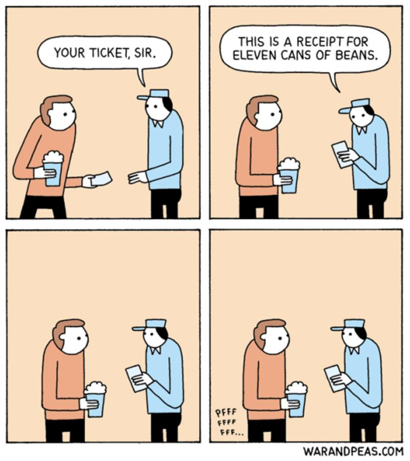 Cartoon - THIS IS A RECEIPT FOR ELEVEN CANS OF BEANS YOUR TICKET, SIR PFFF FFFF FFF... WARANDPEAS.COM