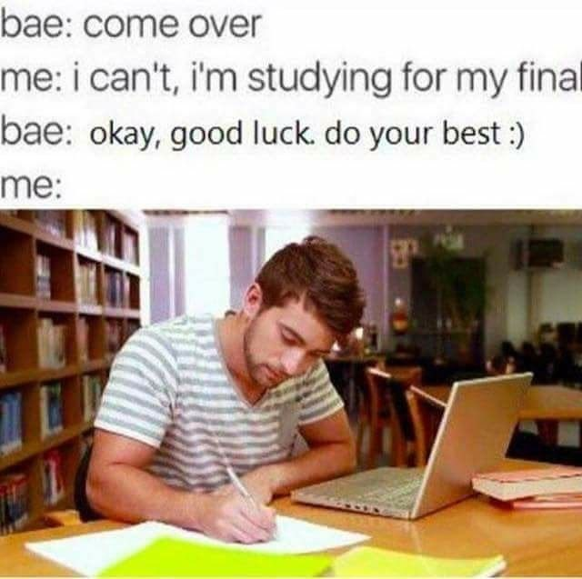 Funny wholesome meme about studying.