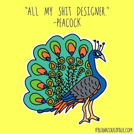 "Bird - ""ALL MY SHIT DESIGNER. -PEACOCK IFBLANKCOULDTALK.COM"