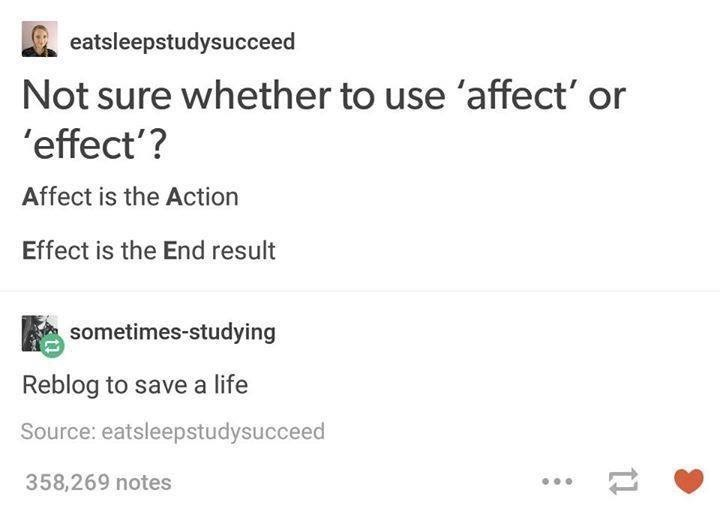Text - eatsleepstudysucceed Not sure whether to use 'affect' or 'effect'? Affect is the Action Effect is the End result sometimes-studying Reblog to save a life Source: eatsleepstudysucceed 358,269 notes