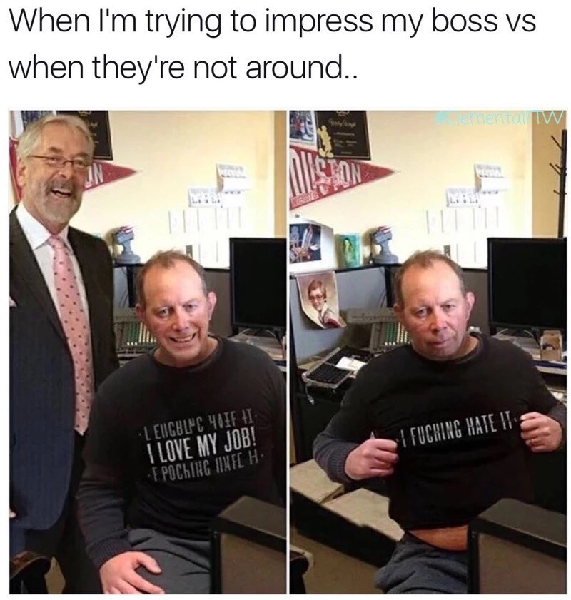 Facial expression - When I'm trying to impress my boss vs when they're not around.. ermenttall TV FIT MESIT LEIGBIC HIF H ILOVE MY JOB! F POCHING INFE H FUCHING HATE IT