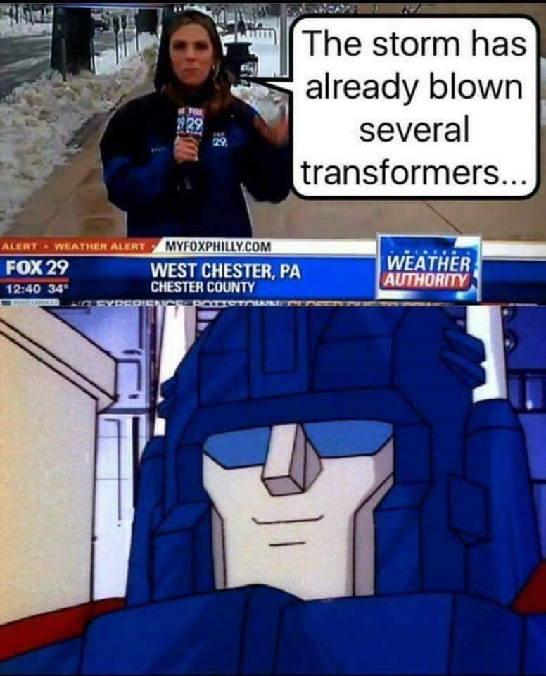 Cartoon - The storm has already blown 29 29 several 29 transformers... WEATHER ALERT MYFOXPHILLY.COM ALERT WEATHER AUTHORITY FOX 29 WEST CHESTER,PA CHESTER COUNTY 12:40 34 IEN