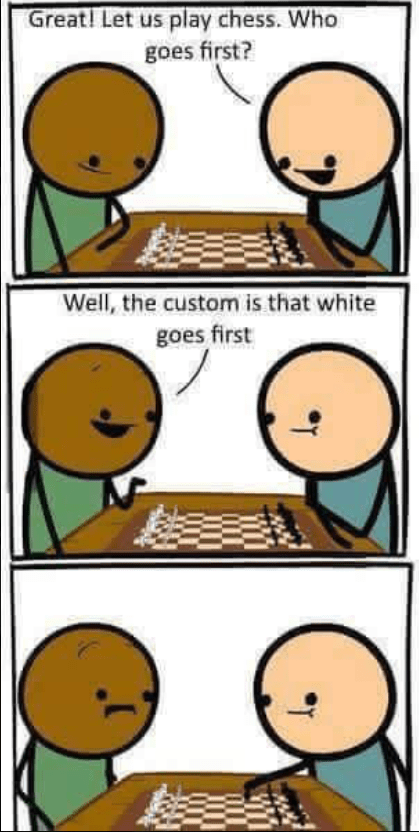 Cartoon - Great! Let us play chess. Who goes first? Well, the custom is that white goes first