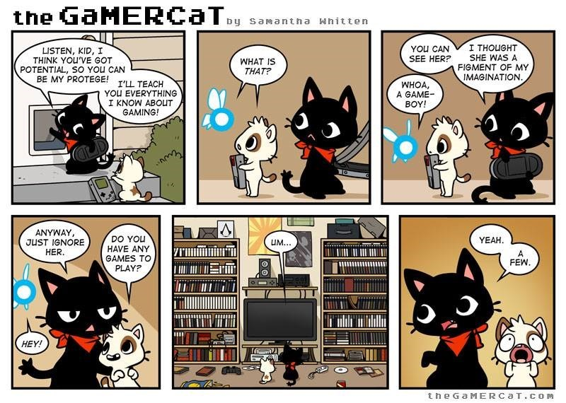 Comics - the GaMERCaTy Dy saMantna whitten I THOUGHT YOU CAN SEE HER? LISTEN, KID, I THINK YOU'VE GOT POTENTIAL, SO YOu CAN BE MY PROTEGE! T'LL TEACH SHE WAS A WHAT IS THAT? FIGMENT OF MY IMAGINATION WHOA A GAME BOY! YOU EVERYTHING I KNOW ABOUT GAMING! ANYWAY JUST IGNORE HER. DO YOu HAVE ANY GAMES TO YEAH UM... A FEW. PLAY? HEY! the GaMERCaT.COM