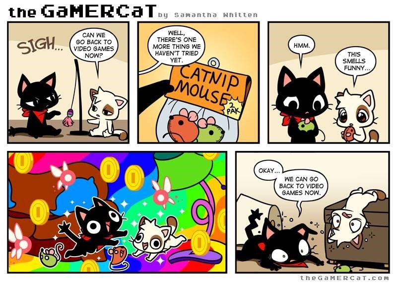 Cartoon - the GaMERCaTy Dy samantn a wnitten WELL, THERE'S ONE CAN WE GO BACK TO VIDEO GAMES NOW? SIGH HMM MORE THING WE HAVEN'T TRIED THIS YET SMELLS CATNIP MouSE FUNNY. 2 PAK OKAY... WE CAN GO BACK TO VIDEO GAMES NOW theGaMERCaT.cOM