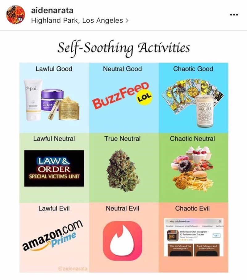 Funny meme of an alignment chart about self soothing activities.