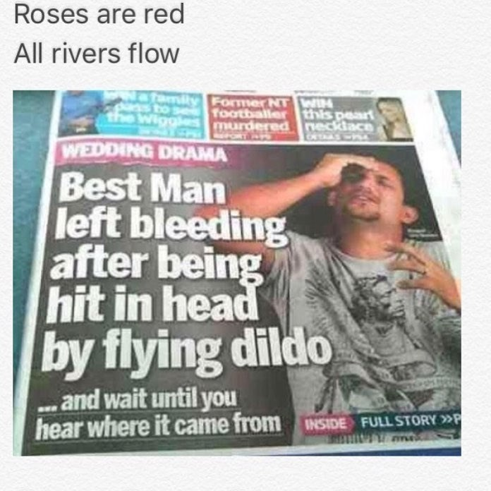 Funny poetry meme about man who is injured by a flying dildo, front page of newspaper.