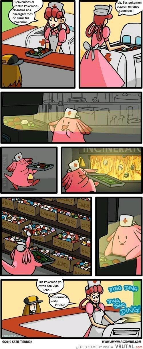 mientras tanto cuando llevas tu pokemon a curarse en un hospital pokemon