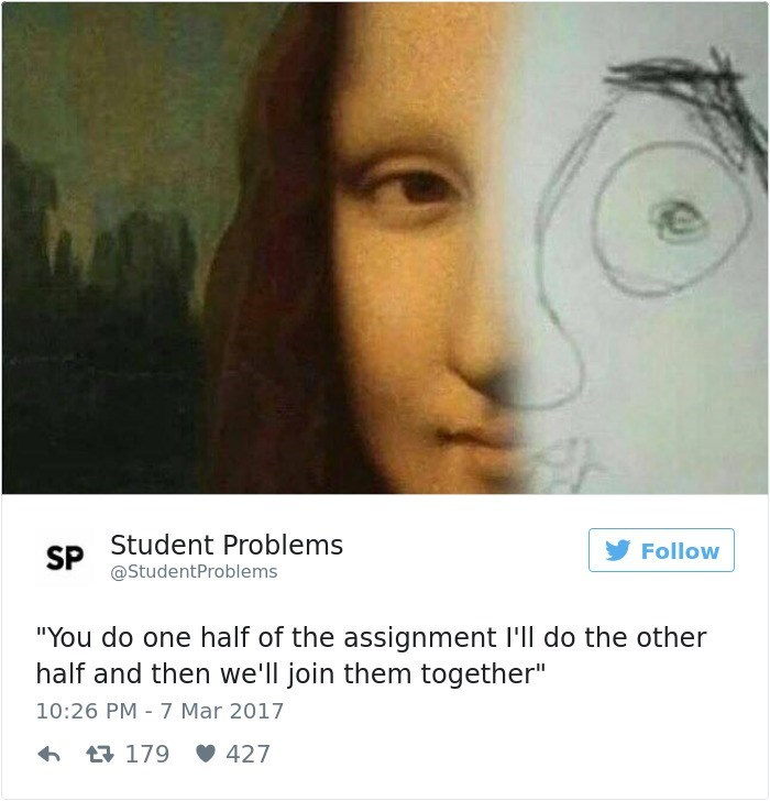 "Face - SP Student Problems @StudentProblems Follow ""You do one half of the assignment l'll do the other half and then we'll join them together"" 10:26 PM 7 Mar 2017 179 427"