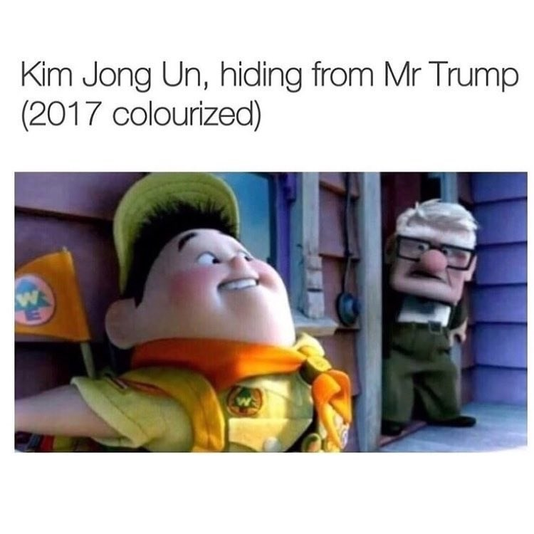 Fake history meme using scene from up to depict kim jong un hiding from donald trump.