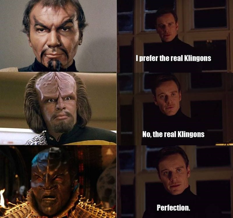 Funny meme about klingons in Star Trek Discovery.