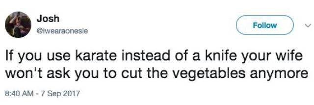 Josh tweets that if you use karate instead of a knife, your wife stops asking you to cut the vegetables
