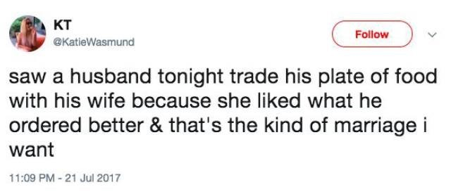 Tweet about couple who traded food at restaurant because his was better