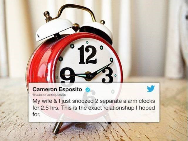 Tweet about wife snoozed for 2.5 hours with separate alarm clocks