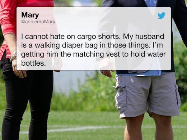 Tweet of woman who likes the utility of her husbands cargo shorts for carrying things