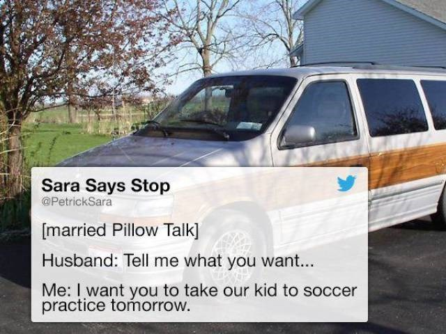 Tweet about pillow talk on taking the kids to soccer practice
