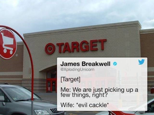 Tweet about going to target to just pick up everything