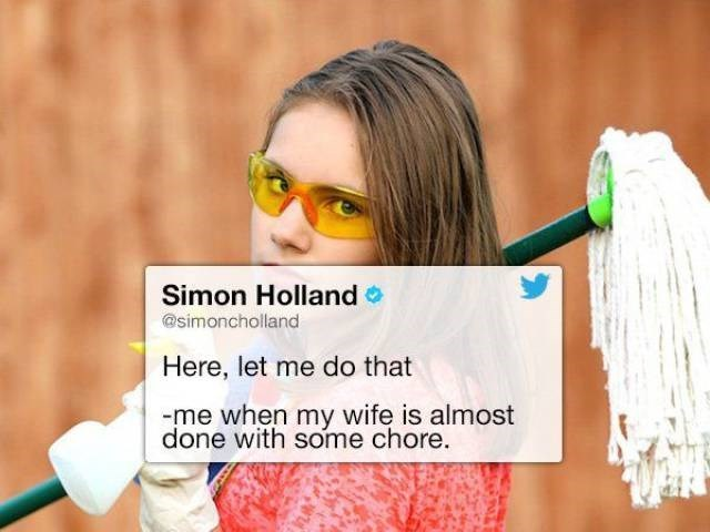 Simon Holland tweet about helping wife when she is done with the chore
