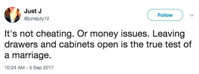 Tweet about testing a marriage by leaving cabinets and drawers open