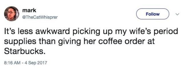 Tweet about the awkwardness of ordering coffee for wife