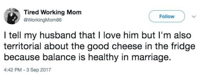 Tweet about balance in marriage