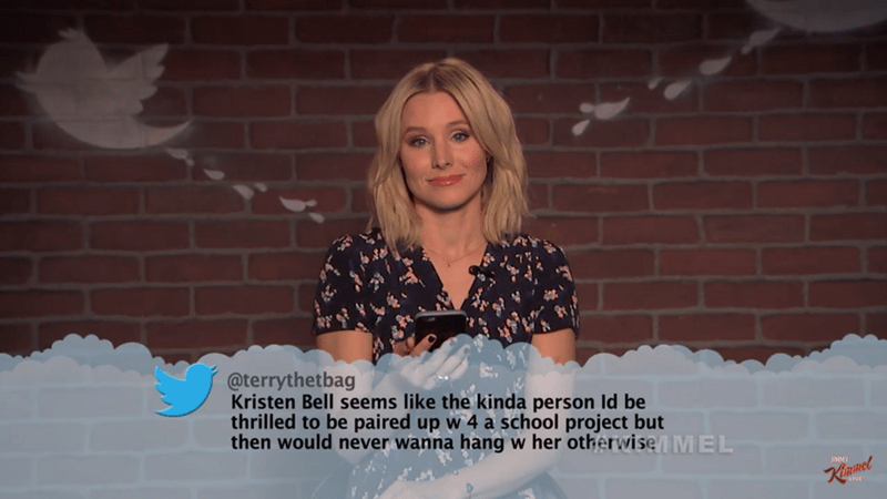 Text - @terrythetbag Kristen Bell seems like the kinda person Id be thrilled to be paired up w 4 a school project but then would never wanna hang w her otherwise MEL RImel