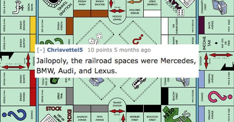 Text - avawon TUNNEL HOLLAND NOD REVERSE NOUVS 7-7-7+7+7+7.7. [- Chrisvettel5 10 points 5 months ago Jailopoly, BMW, Audi, and Lexus. the railroad spaces were Mercedes, TRANSIT STATION BOYLSTON STREET $250 NEWURY STREET STOCK FIFTH MADISON SECURIT AVENUE AMNUE 0055 PAY 10% anAY a Y anNAY TAX ORENTAL CHEST COMUNITY NOVIS ONVHO OLES SQUEEZE EMBARCADERO SNe NOOV 30 WO 7+7»7» 7+77477+77 EXCH Ow UND FLORDA AVENUE WALL STEEET UST OF CT 50% OE130 POOL PRCE500 STARON WATER CHANCE WORKS ? ATLAN AVENUE EU
