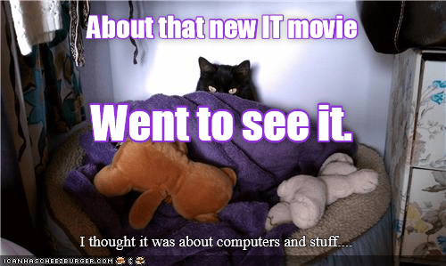 cat memes - Cat - About that new IT movie Went to see it. I thought it was about computers and stuff ICANHASCHEEZEURGEROOM