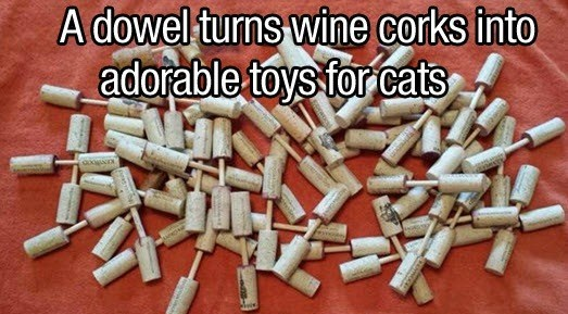 Smoking cessation - A dowel turns wine corks into adorable toys forcats