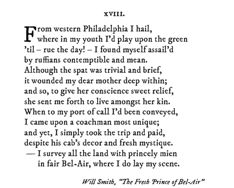 Pop sonnet of Will Smiths intro of The Fresh Prince of Bel-Air