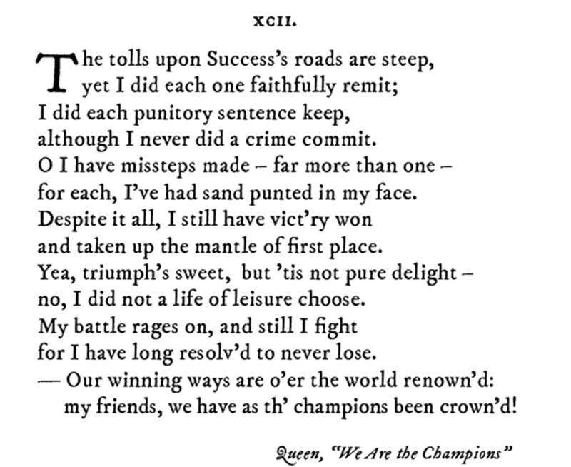 Pop sonnet of Queen's We Are The Champions