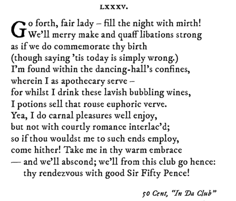 Pop sonnet of 50 Cent's In Da Club