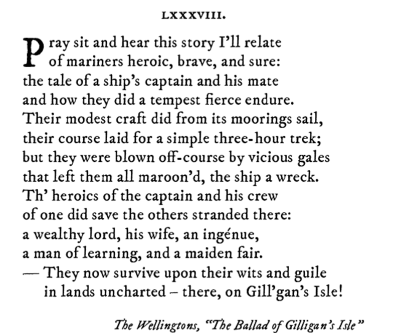 Pop sonnet of The Wellington's The Ballard of Gilligan's Isle