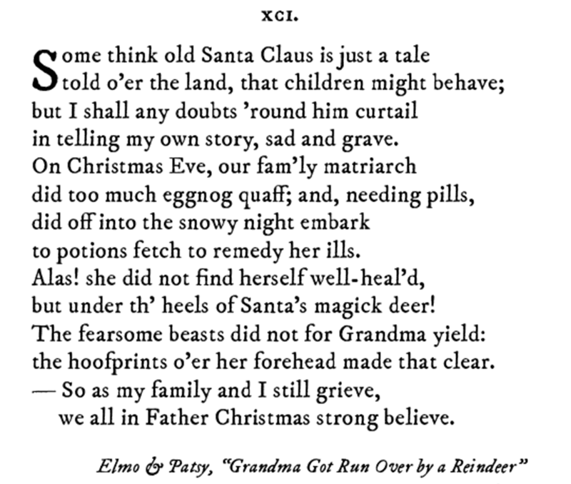 Pop sonnet of Grandma Got Run Over by a Reindeer by Elmo and Patsy