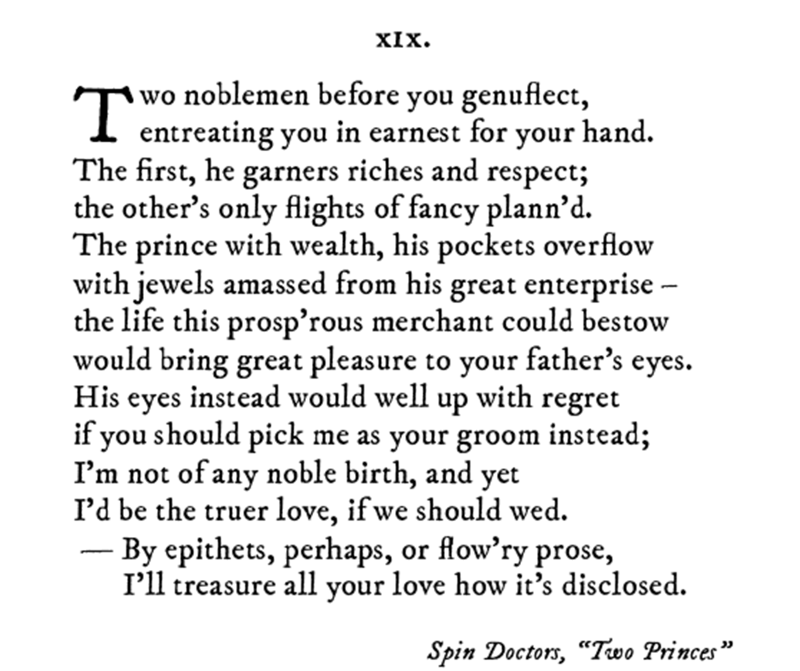 Pop sonnet of Two Princes by the Spin Doctors
