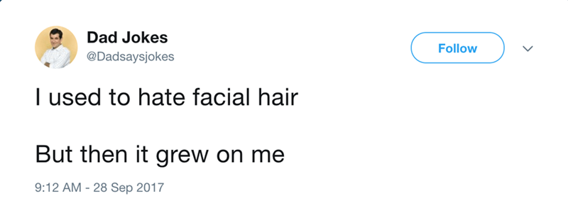 dad joke tweet about facial hair