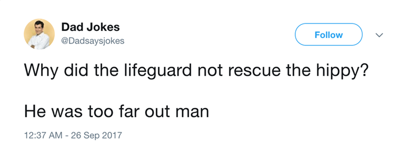 Dad joke about lifeguards and hippies