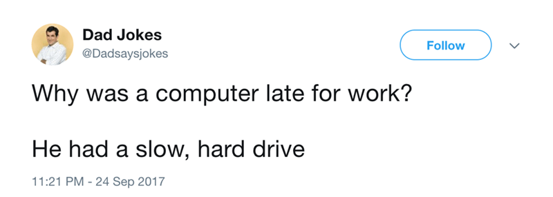 Dad joke about why the computer was late for work