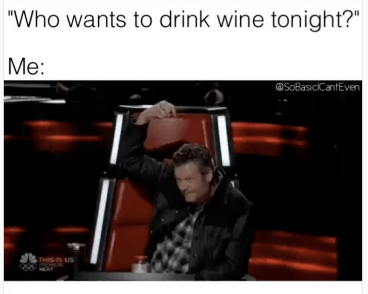 meme about drinking wine with picture of Blake Shelton pointing at himself