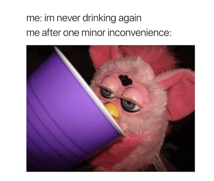 meme about breaking your promise not to drink with picture of pink Furby drinking from purple cup