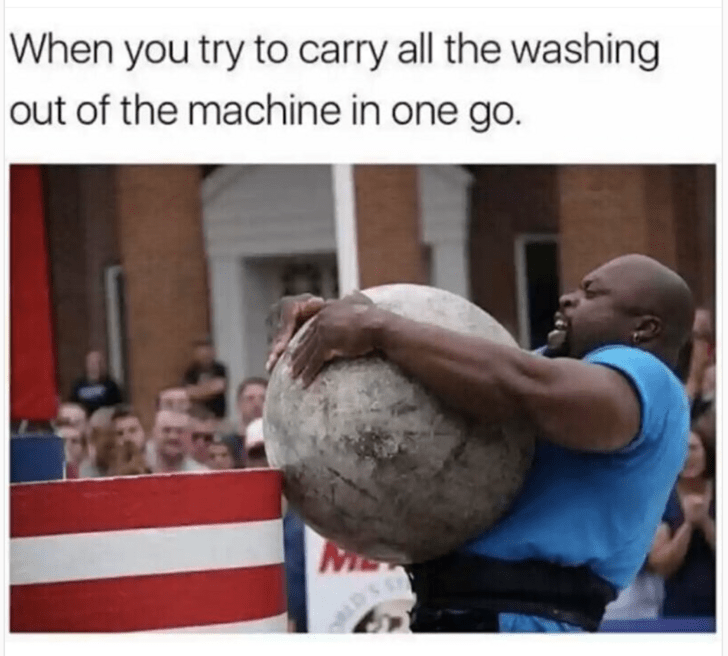 meme about trying to carry everything in one trip with picture of athlete carrying heavy ball