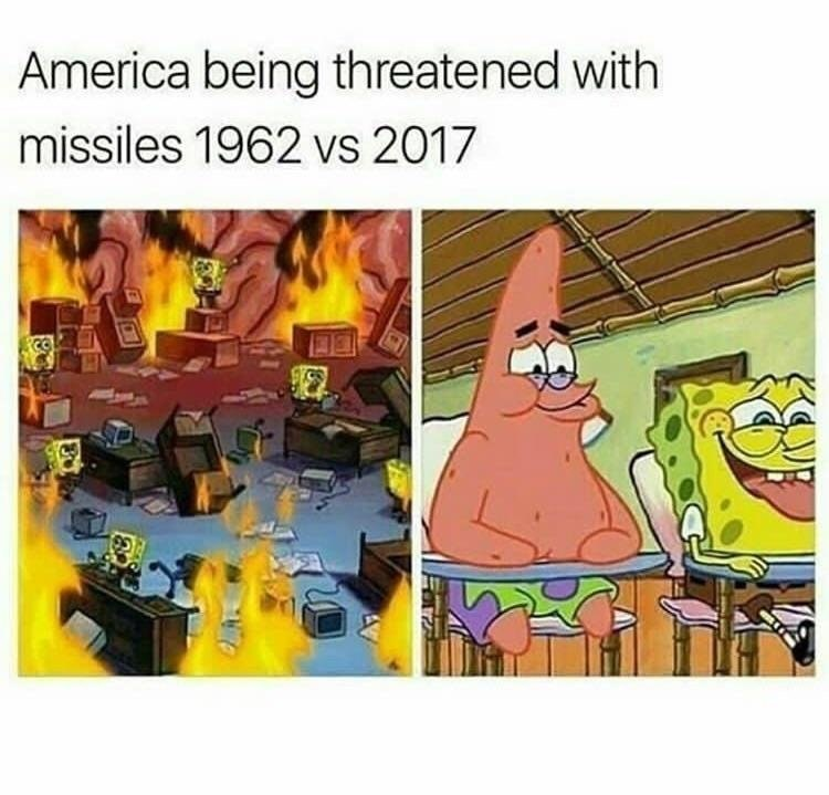 Funny meme about america being threatened by missiles, fear in the 1960s and no reaction in present day.