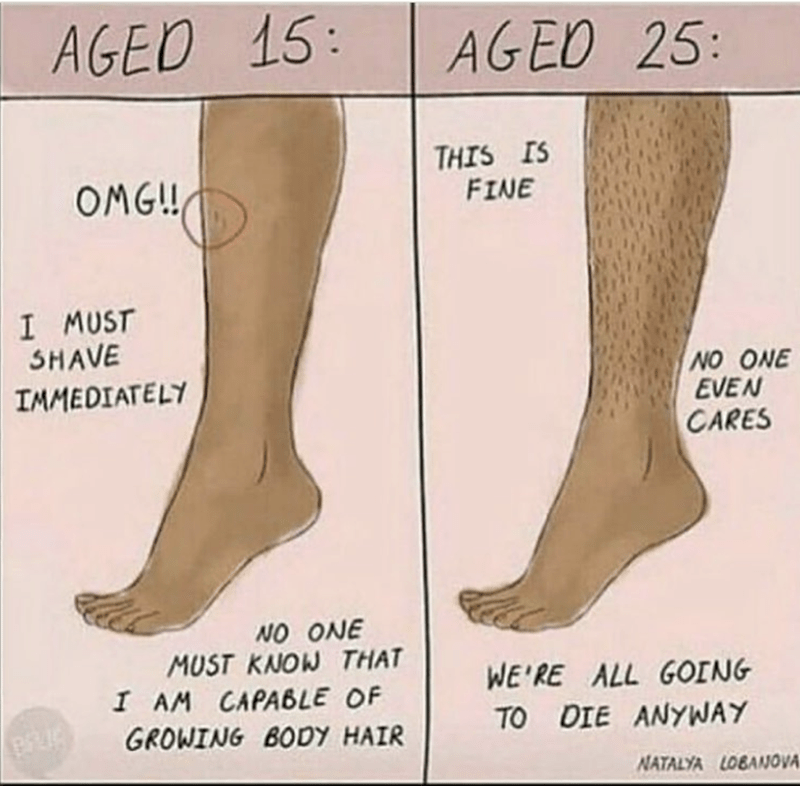 Human leg - AGED 15: AGEO 25: THIS IS FINE OMG!! I MUST SHAVE NO ONE EVEN CARES IMMEDIATELY NO ONE MUST KNOW THAT I AM CAPA6LE OF WE'RE ALL GOING TO DIE ANYWAY GROWING BODY HAIR NATALYA LOBANOVA