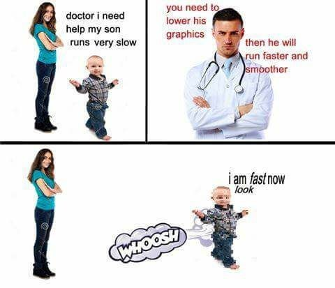Funny meme about a baby who runs too slow, doctor says to lower his graphics, joke about technology and internet.