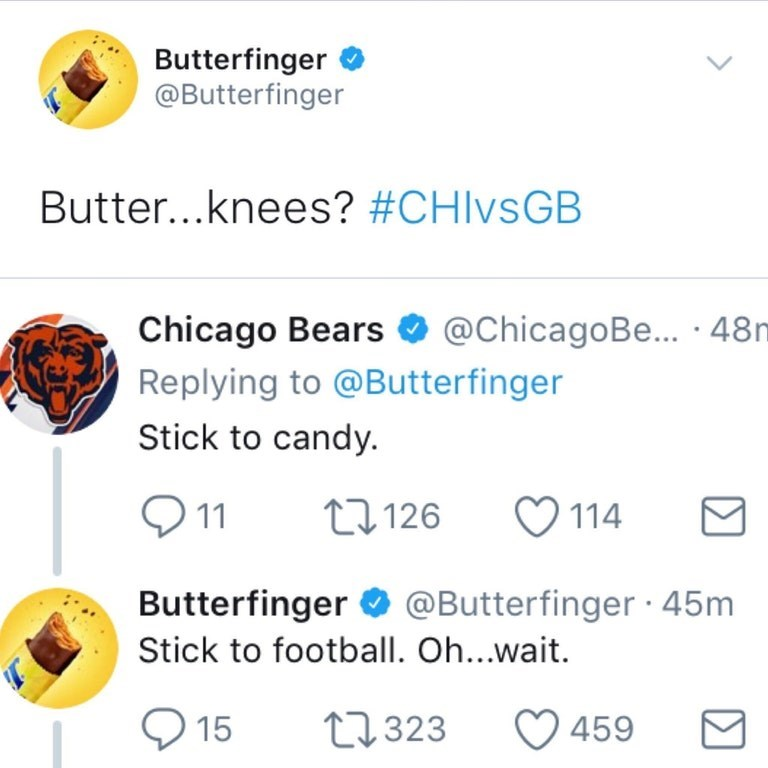Funny twitter exchange between butterfinger and Chicago bears