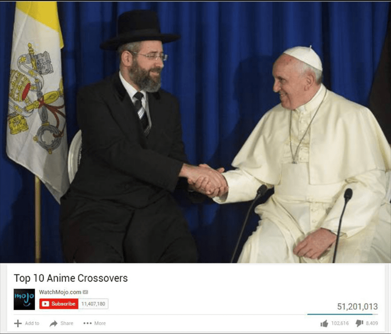 Rabbi and Pope shaking hands as cover for Top 10 Anime Crossovers